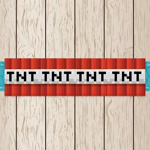 Printable Minecraft TNT Twizzler Wrappers Minecraft Birthday by