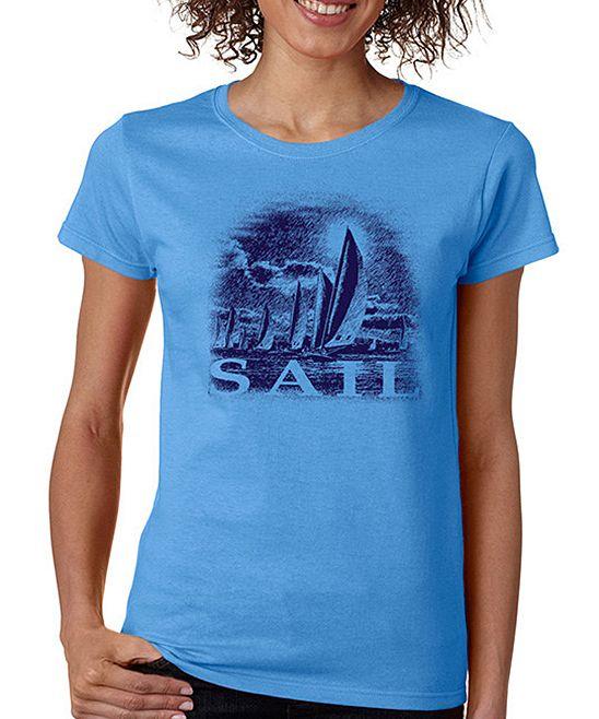Blue 'Sail' Crewneck Tee