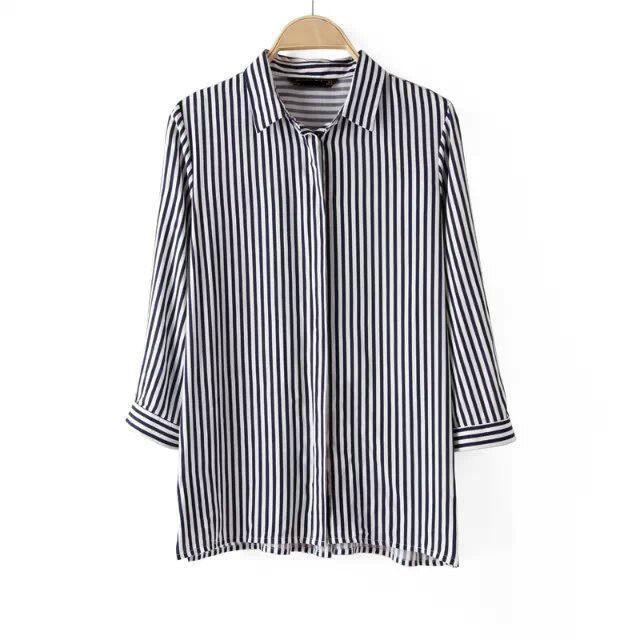 Ladies Striped Shirts, Casual Slim
