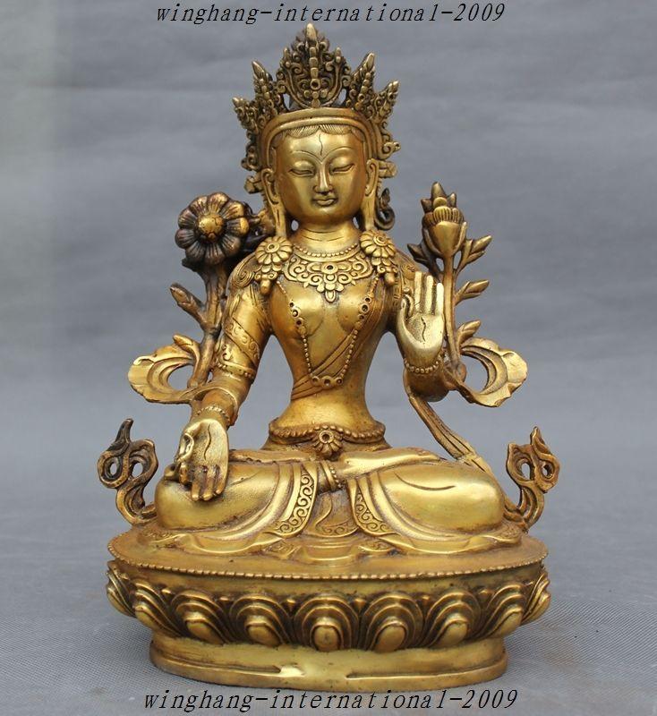 Tibetan Buddhism Bronze Kwan-yin White Tara Buddha Statue