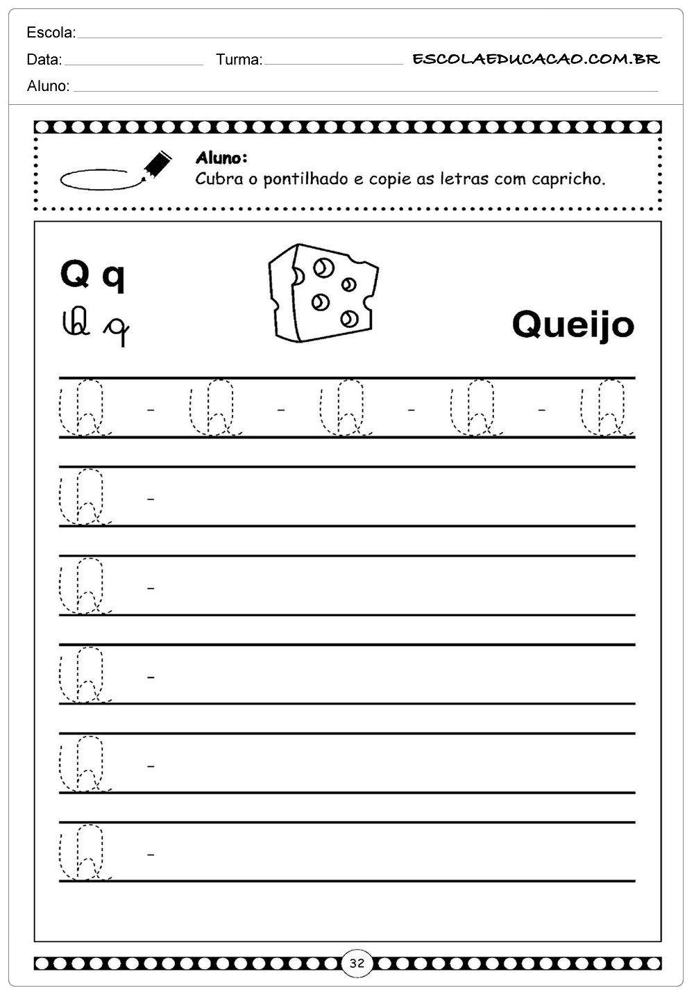 Letra Q Queijo Com Imagens Atividade Letra H Alfabeto