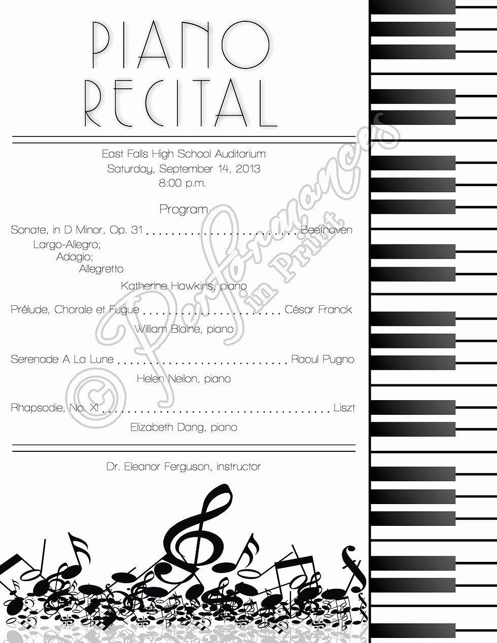 Concert Program Template Free Beautiful Piano Recital Concert Music Program Piano Recital Piano Recital Gifts Piano Teaching