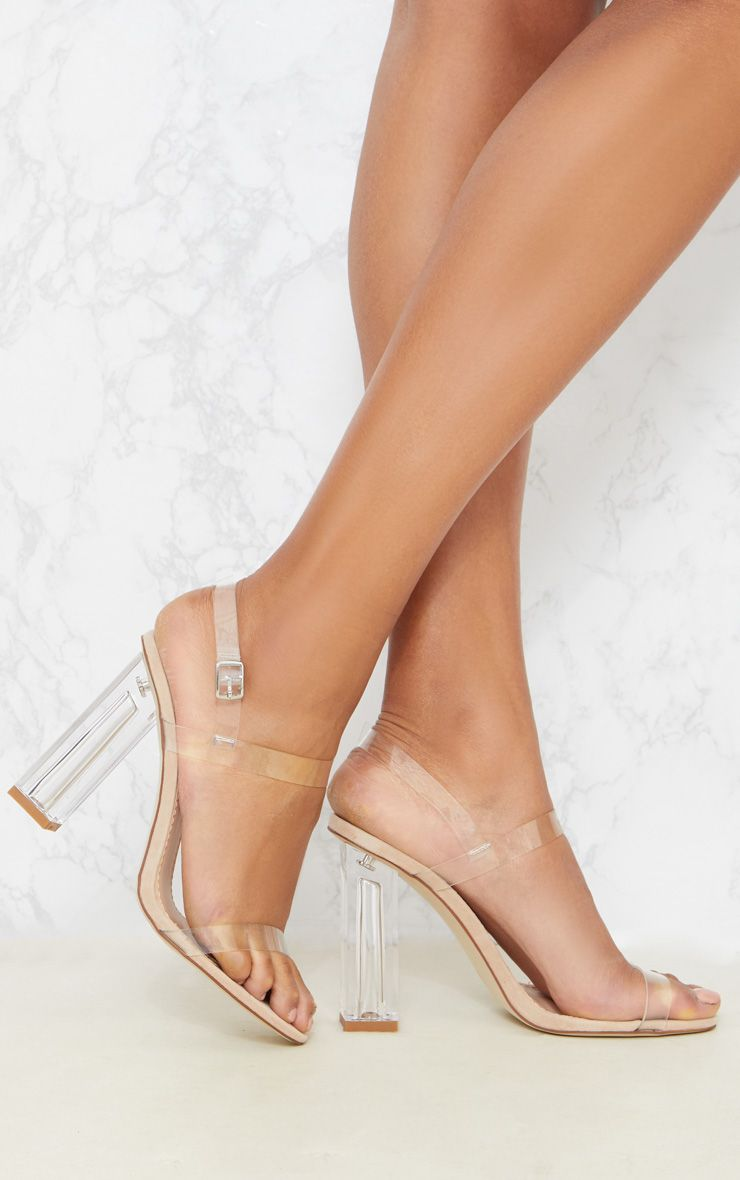 18453cdfd21 Clear Block Heel Strappy Sandal | shoes | Clear block heels, Clear ...