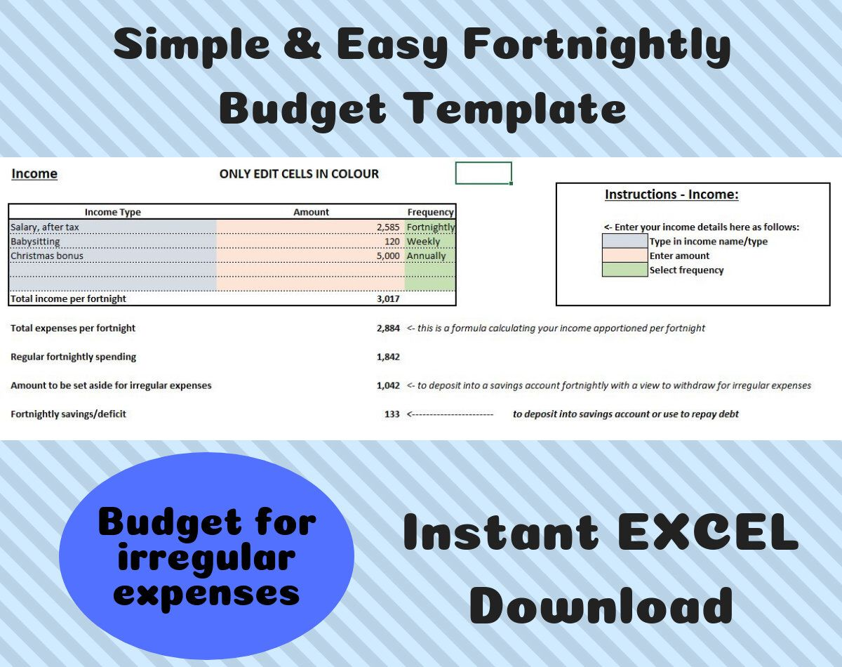 Simple Fortnightly Budget Template Excel Instant Download