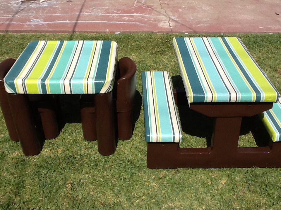 Marvelous Kids Picnic Table Redou0027s. Spray Paint, A Vinyl Tablecloth And A Staple ...