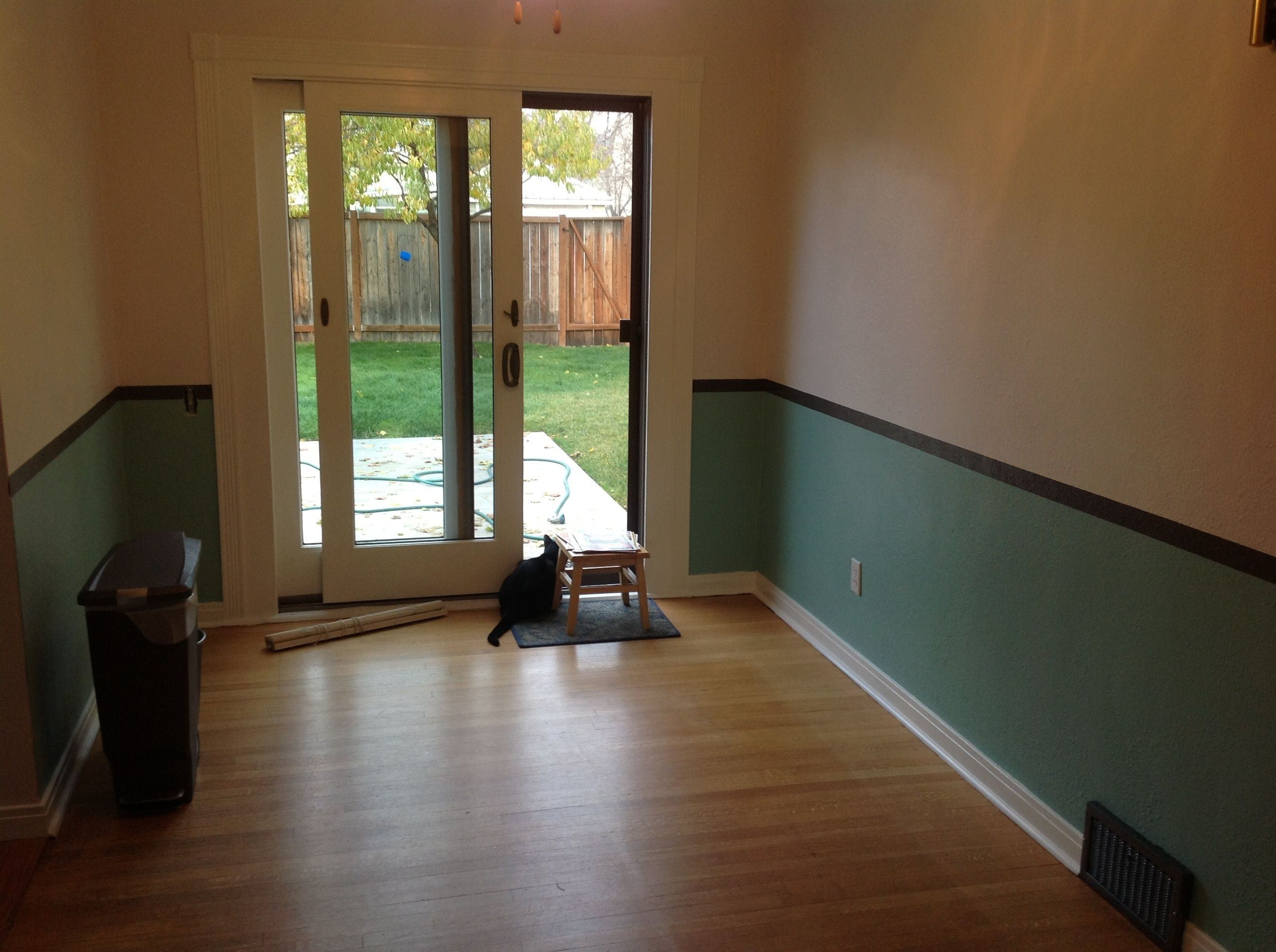 Chair Rail Height From Floor Part - 42: Make A Faux Chair Rail By Painting A Stripe At Chair-rail Height (approx
