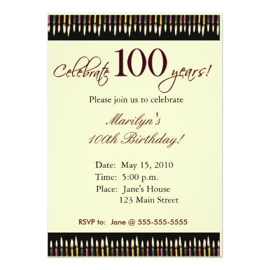 100 Year Old Birthday Party Invitation Zazzle Com 100th Birthday Party Birthday Invitations Printable Birthday Invitations