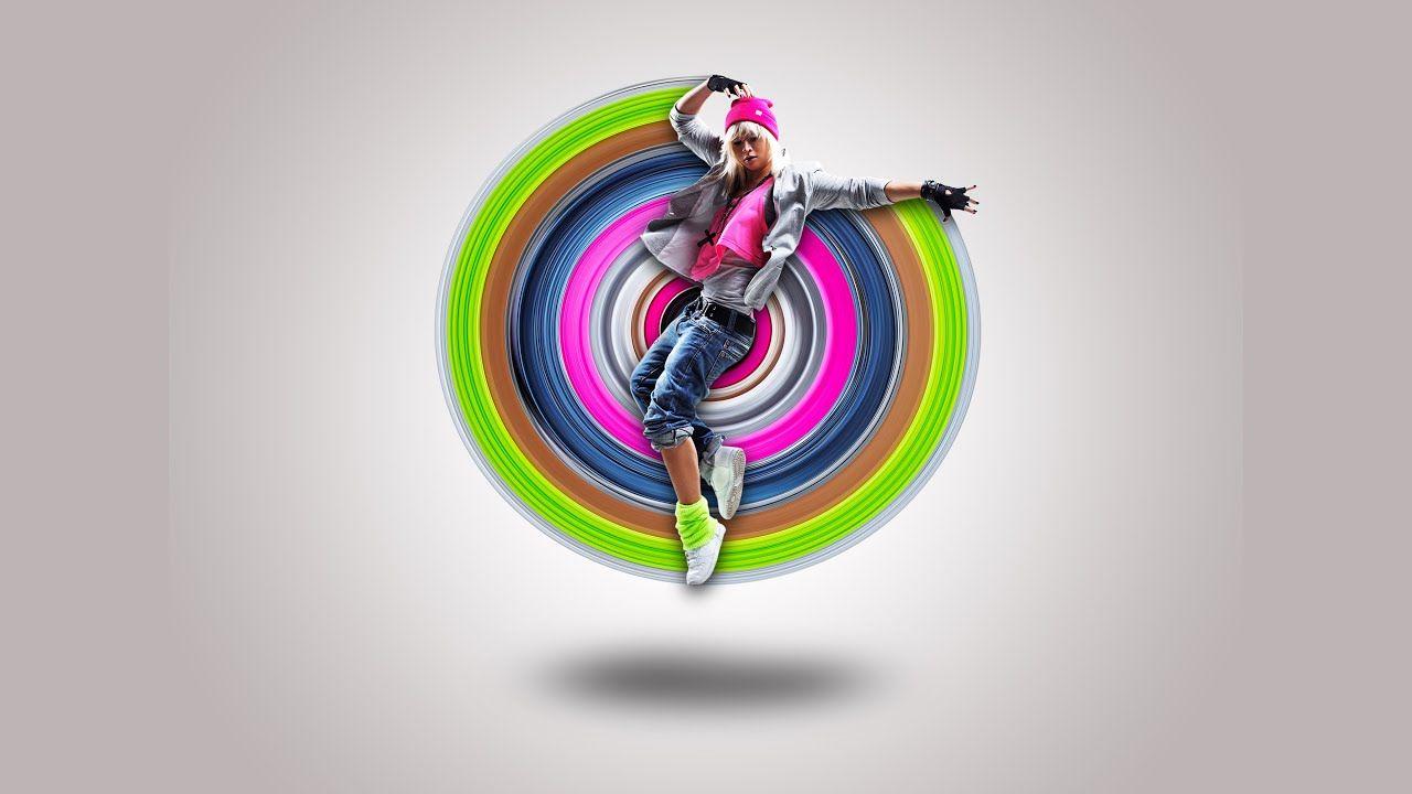 Circular pixel stretch effect photo shop effect