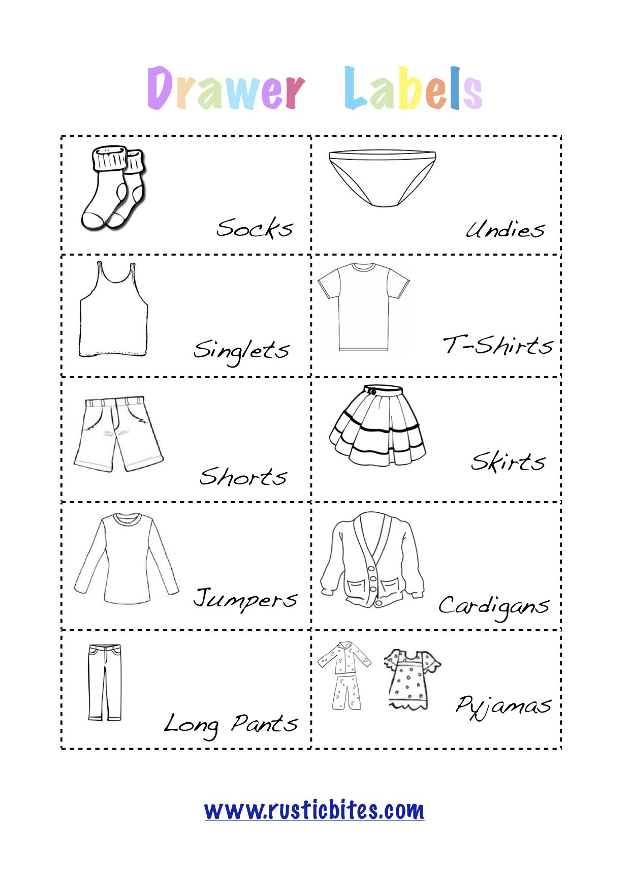 Kid Drawer Labels Printable Free With Images