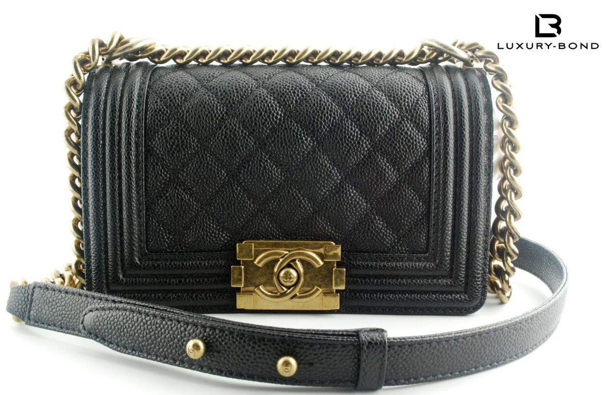 968b9bc5e634 Chanel Le Boy Small Sz Black Caviar Calf Flap Bag w Gold from Fall 2014 WOC  | eBay