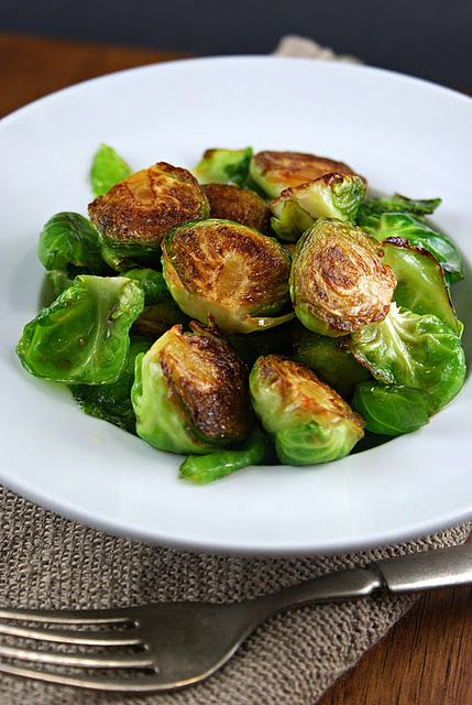 Pan Fried Brussels Sprouts with Sriracha, Honey and Lime   D  V (Sriracha is hot sauce)