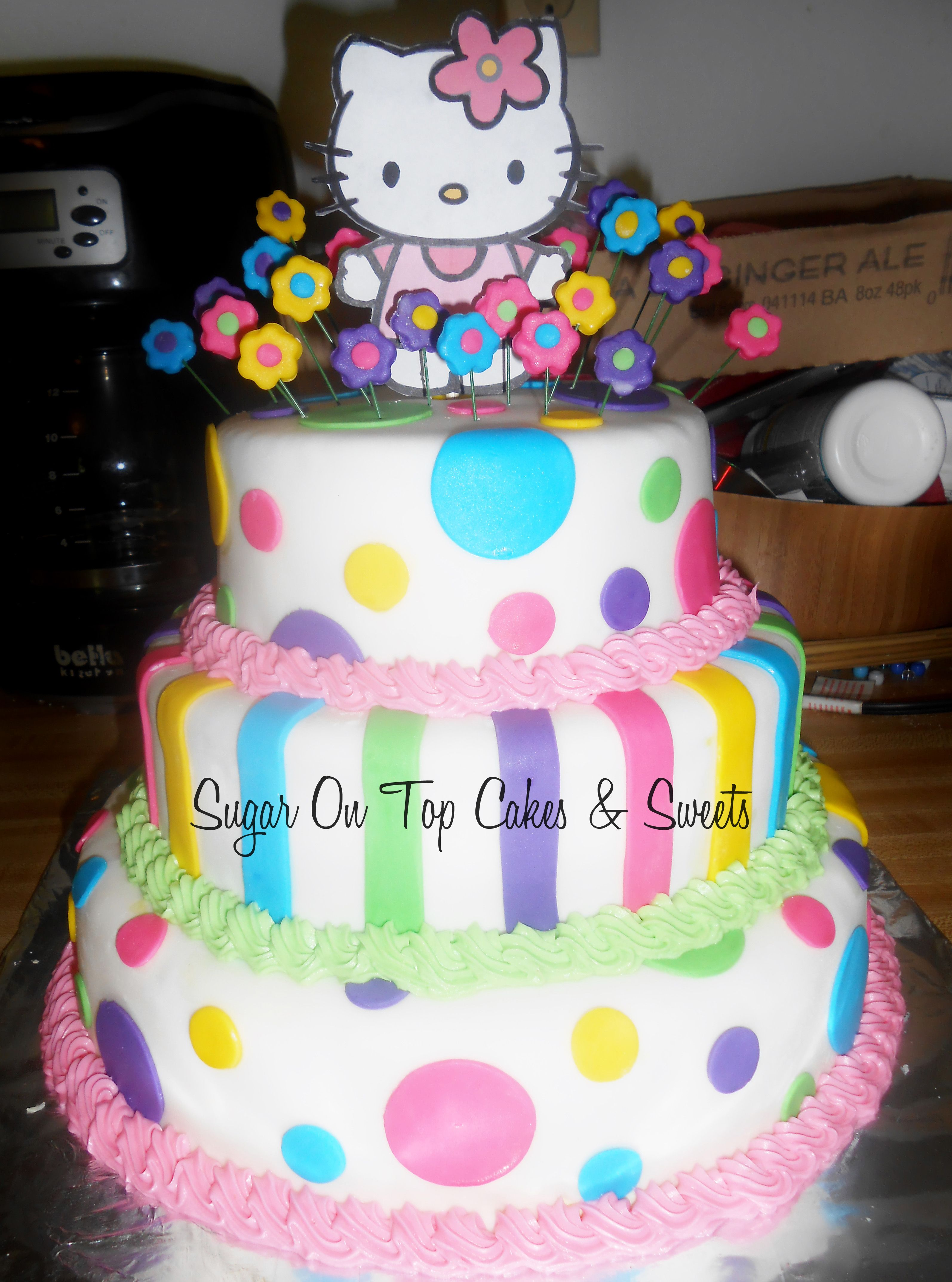 Hello Kitty Birthday Cake facebookcomSugarOnTopCakes Sugar On