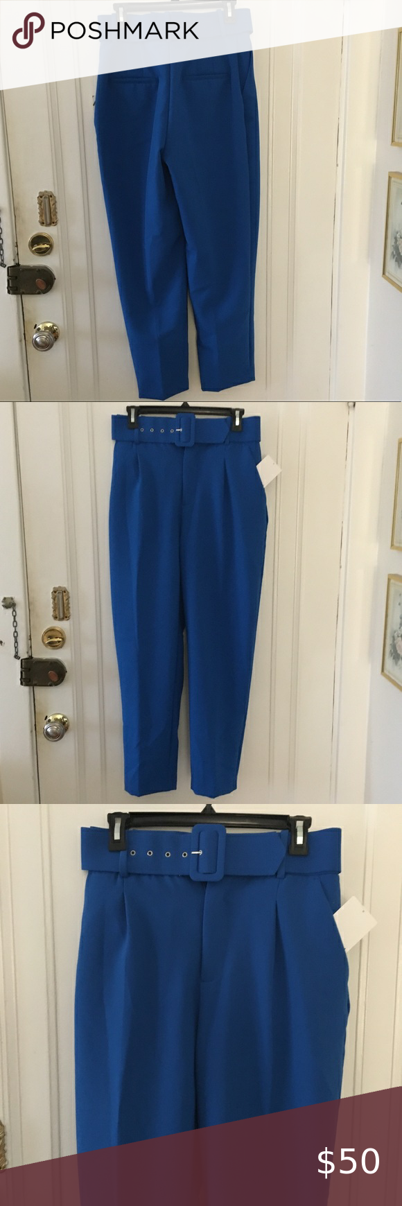 Zara Blue High Waisted Belted Pleated Pants Zara Blue High Waisted Belted Pleated Pants  Size Medium  Brand new with tags.  Great for work / career. Beautiful blue color and great alternative to the usually black pair of pants.  High-waisted pants. Front pockets and back false welt pockets. Front pleat detail. Self belt with lined buckle. Front zip, metal hook and inside .  012020 AB 0131 Zara Pants