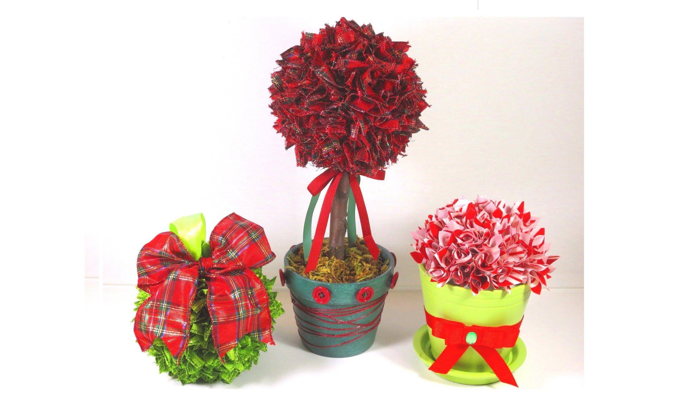 Diy christmas tree ribbon topiary and ornament decorations diy christmas tree ribbon topiary and ornament decorations solutioingenieria Image collections