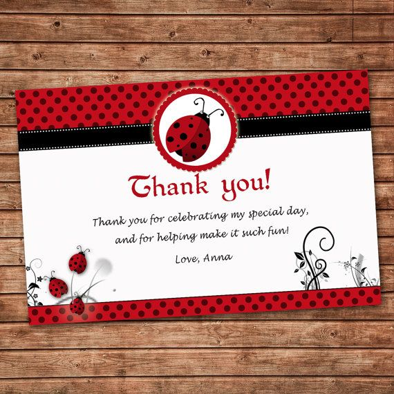 Personalized Any Wording Red Black Thank you Card Little Ladybug – Personalized Birthday Thank You Cards