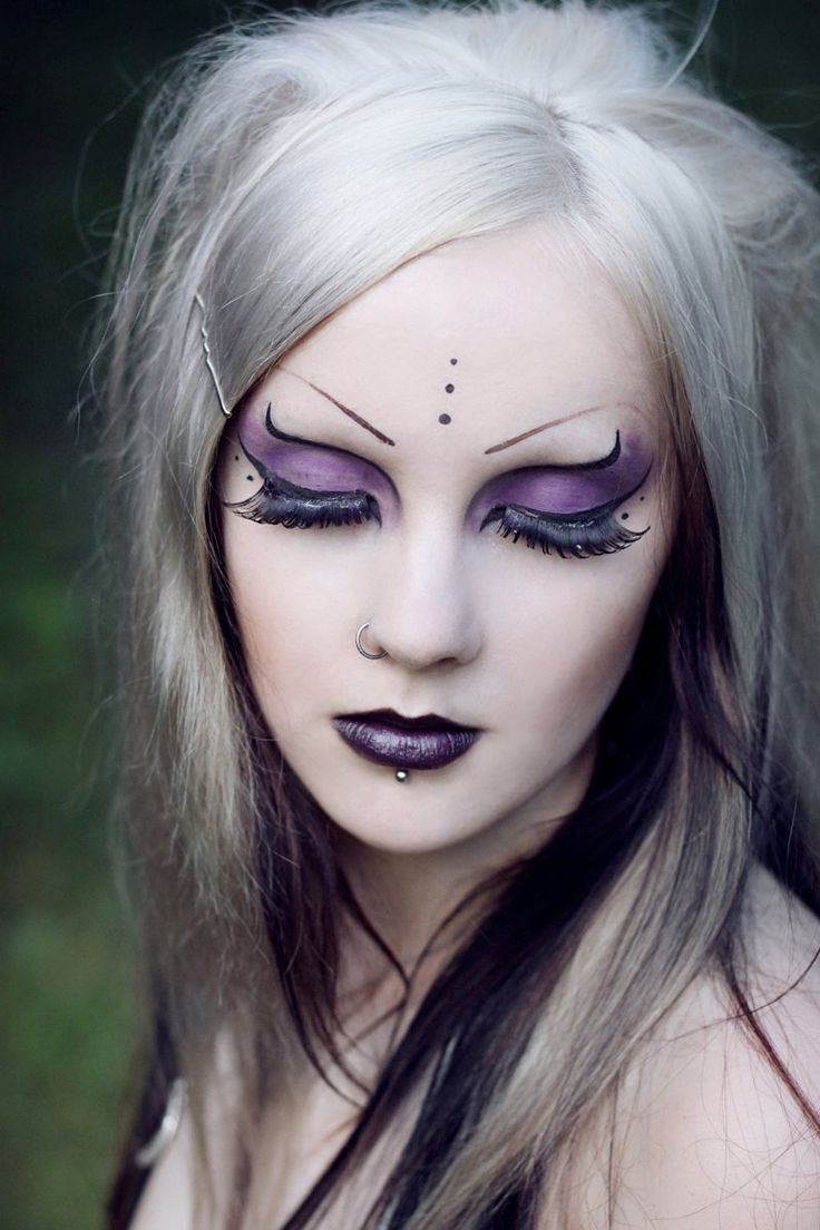 Pretty Purple Black Eyes Lips Lashes Just Straight Cyber Goth Makeup