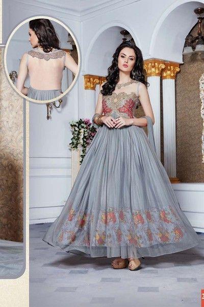 thankar latest designer heavy grey partywear gowns Fancy dresses for ...