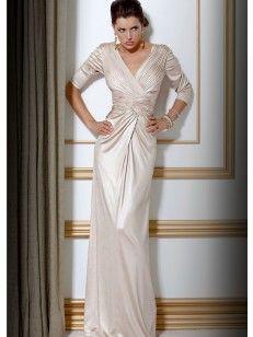Tubino Scollo a V 3/4 Maniche Ruches Floor-length Dress