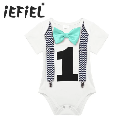 iEFiEL Toddler Newborn Baby Boys 1st Birthday Romper Summer Clothes Infant Jumpsuits For One 1 Year Old Party Gentleman Romper