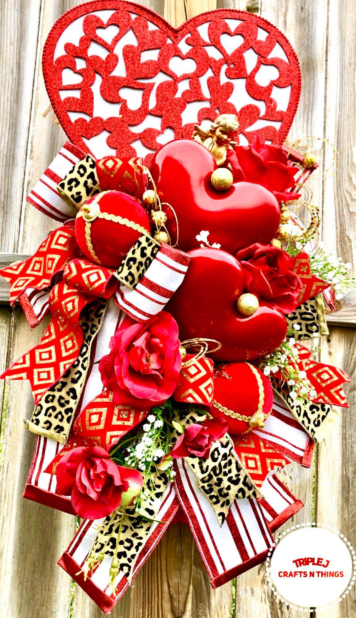 Valentine Wreath Valentine Decor Valentine Door Cupid Decor Valentine Door Hanging Heart Wreath Heart Decor Wedding Decor In 2020 Valentine Wreath Heart Decorations Valentine Decorations