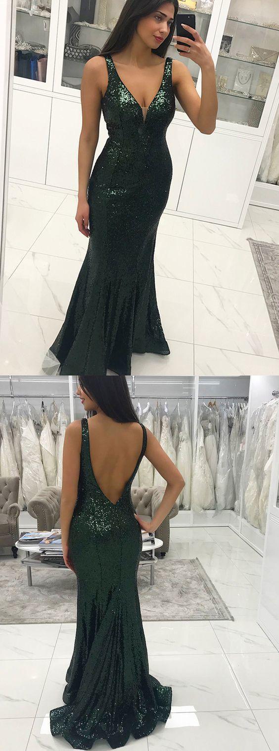 Mermaid vneck backless floorlength dark green sequined prom dress