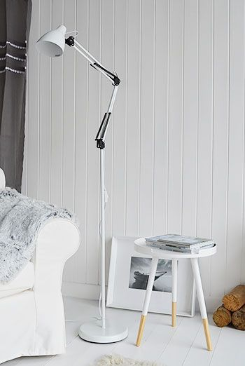 Tripod Scandi retro side lamp table in white contemporary living ...