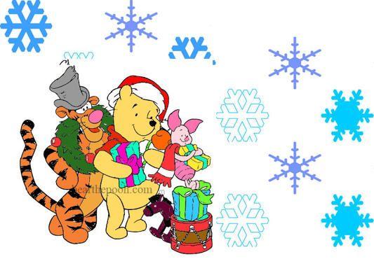 Winnie The Pooh Christmas Background Christmas Desktop Wallpaper