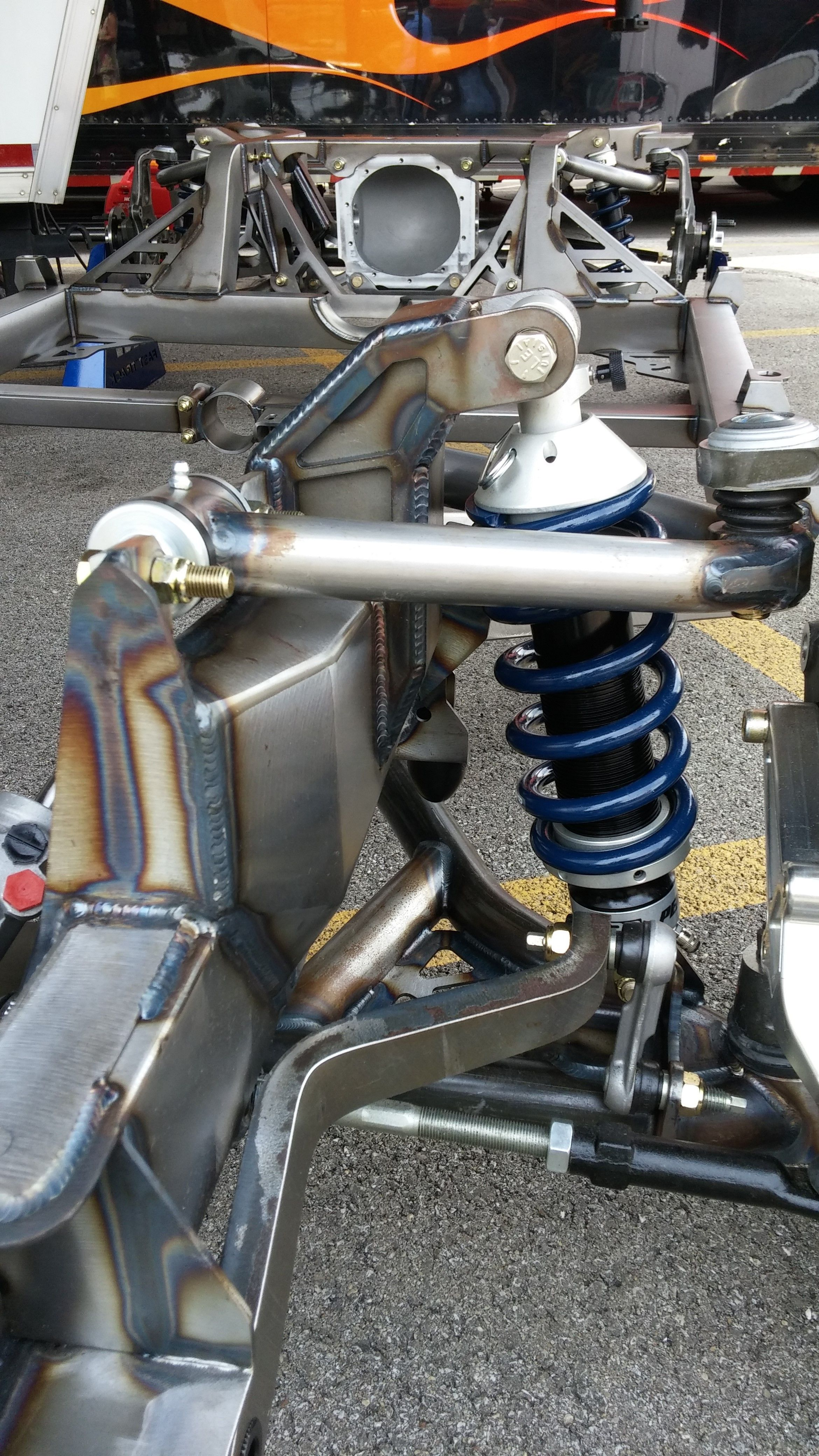 hight resolution of tog welded fabricated front coil over suspension on a street rod frame 2015 goodguys rod show in columbus ohio