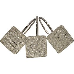 @Overstock - Charming and vibrant, these shimmering square shower curtain hooks will add a modern touch to your bathroom decor. Constructed of durable polyresin with metal j-hooks, these hooks slide easily through perforations in your shower curtain.http://www.overstock.com/Bedding-Bath/Crystal-Diamonds-Shower-Curtain-Hooks/6569850/product.html?CID=214117 $24.99