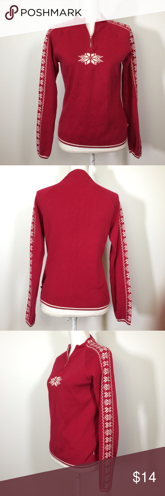 """Tommy Hilfiger snowflake 1/4 zip pullover sweater Good used condition, chest 16.5 across / 34"""" around, length: 22"""", long sleeve, 100% cotton Tommy Hilfiger Sweaters"""