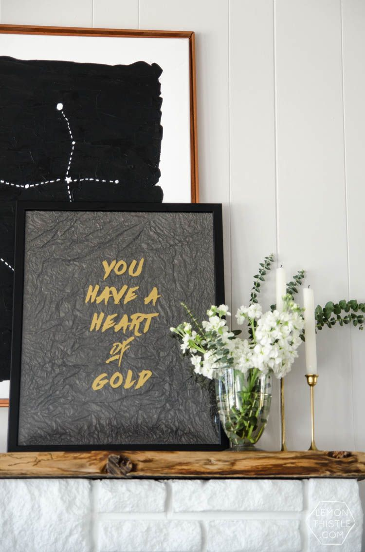 You have a heart of gold textured quote art quote art gold diy