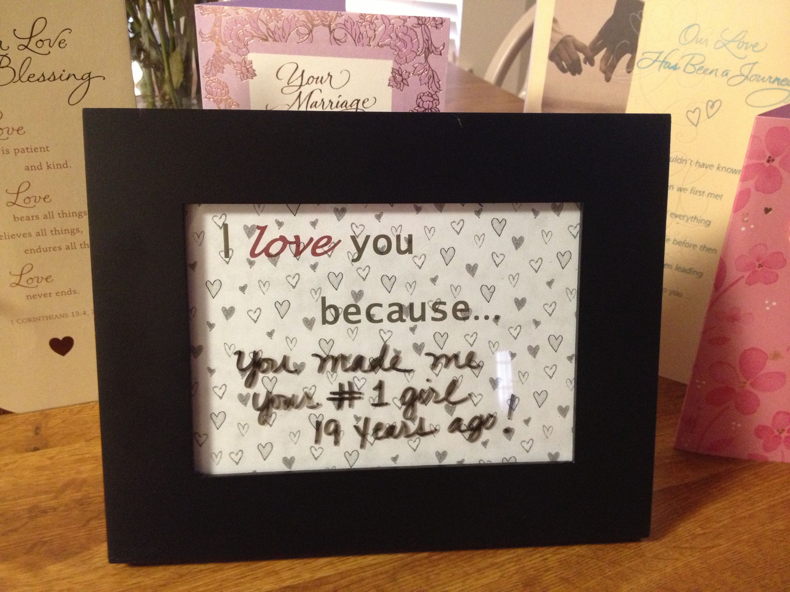 Homemade Gift To My Husband For Our 19th Anniversary The I Love You Because Is On Paper Inside Of Frame Can Change What Him