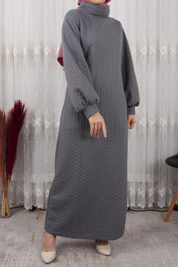 فستان رمادي صوف قطن تسوق أون لاين حجاب مودانيسا أزياء محجبات ملابس محجبات فساتين جلباب عباية ملابس Muslim Women Clothing Abaya Dress Islamic Clothing