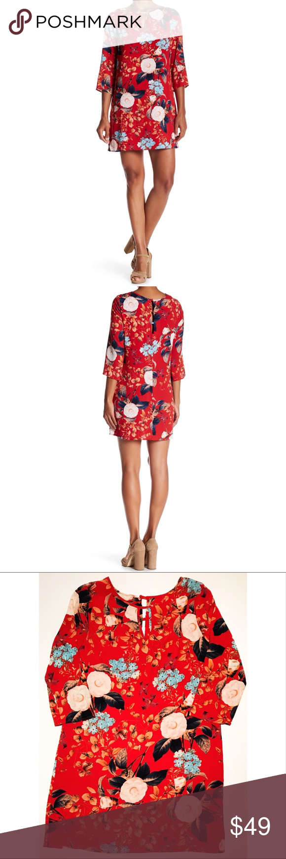 Cue nwot floral dress keyhole lined red sleeve my posh picks