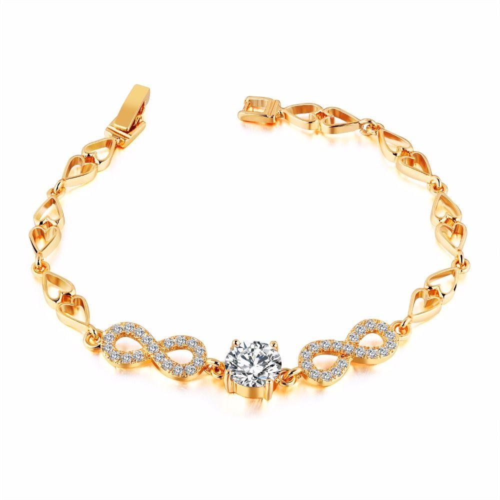 Luxury infinity bracelets for women cubic zirconia female