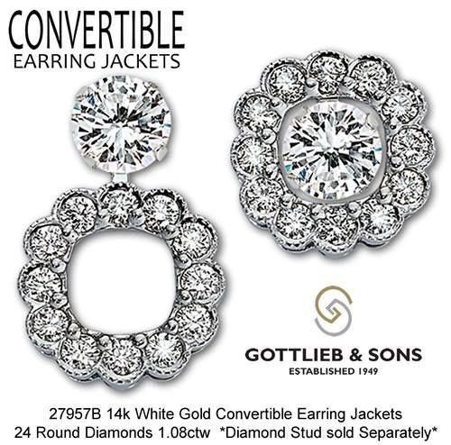 Scalloped diamond convertible earring jackets