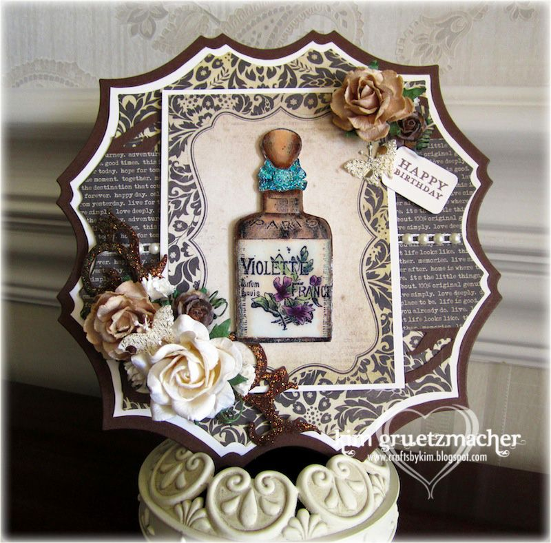 Vintage Bottle Birthday Card created by Crafts by Kim.