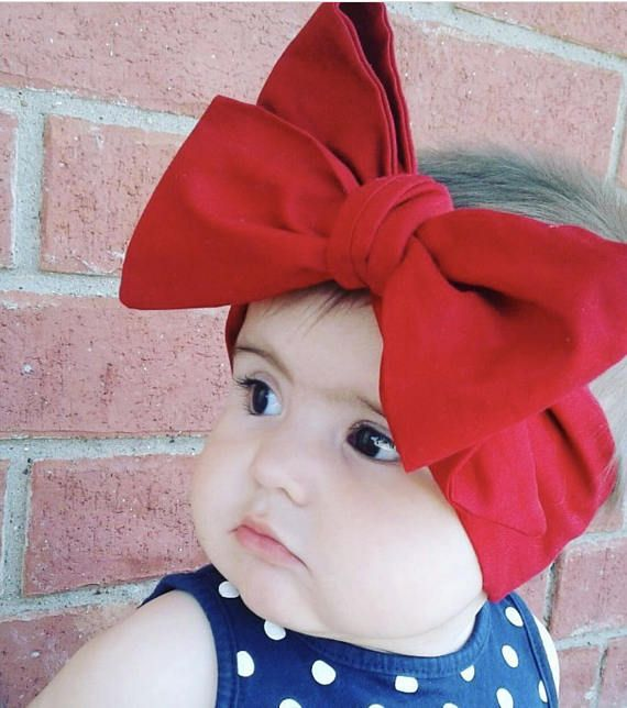 Red Baby Head Wraps Headwrap Big Bow Baby Headband