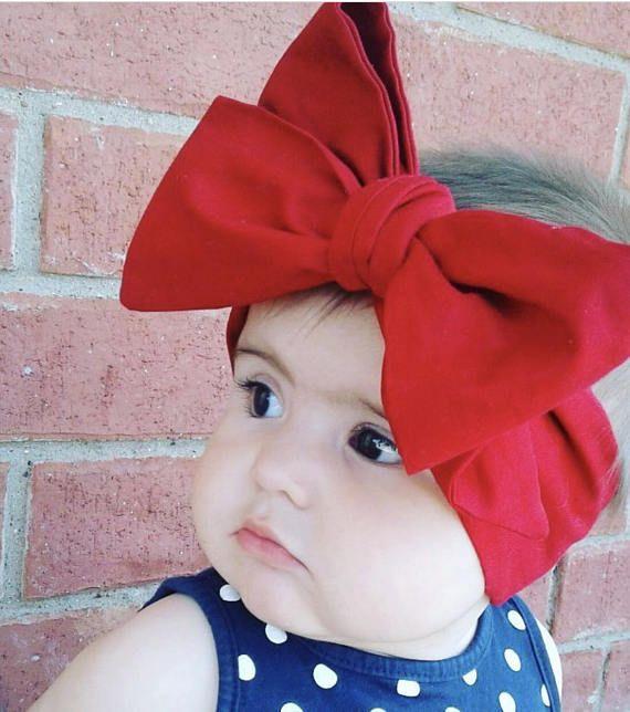 Red Baby Head Wraps - Headwrap - Big Bow- Baby Headband - Baby Bow ... 7beb504ac92