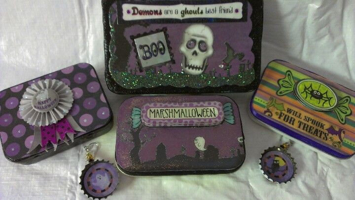 Halloween tins using stickers, paper and fun.