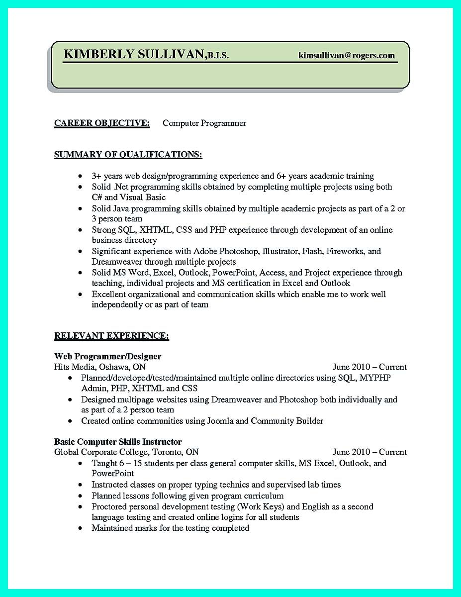 sample computer programmer resume