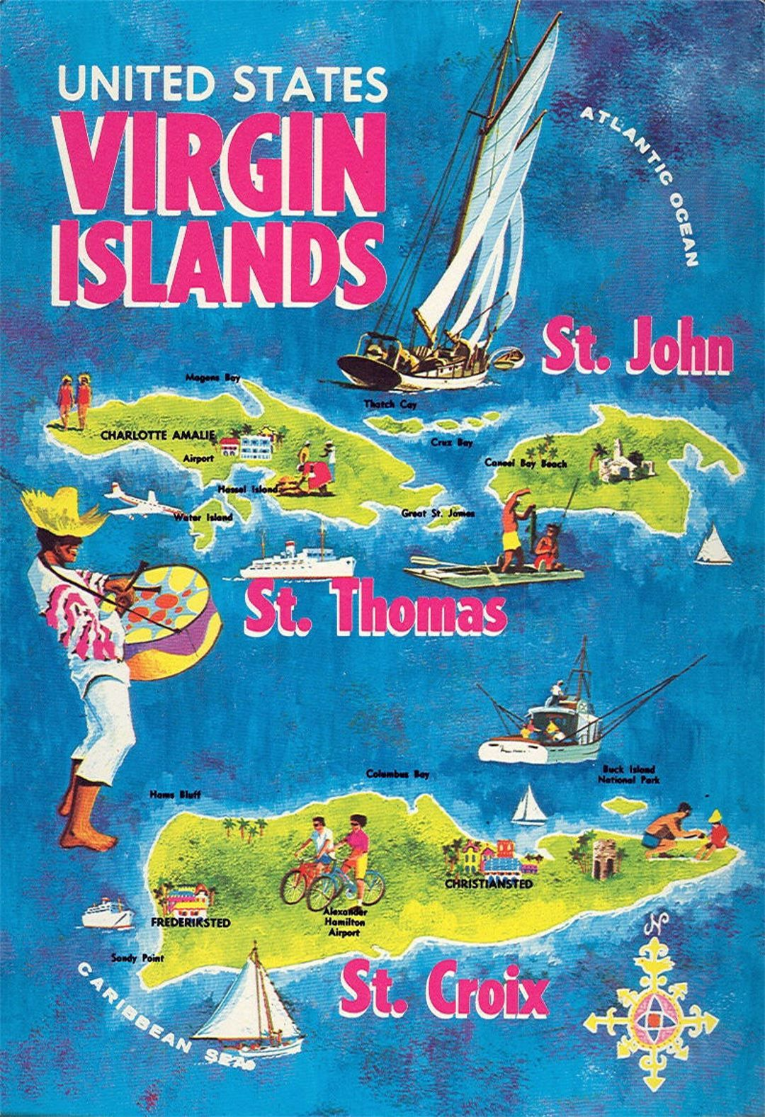 Virgin Islands  Caribbean  USVI  BVI  Diving   Vintage 1950/'s Style Travel Decal