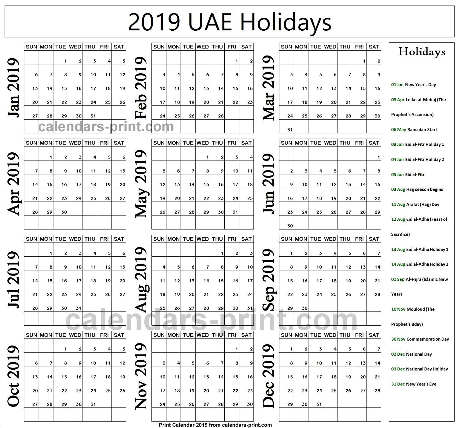 2019 Bank Holidays United Arab Emirates Holiday Calendar Holiday Calendar Printable Year Calendar Planner