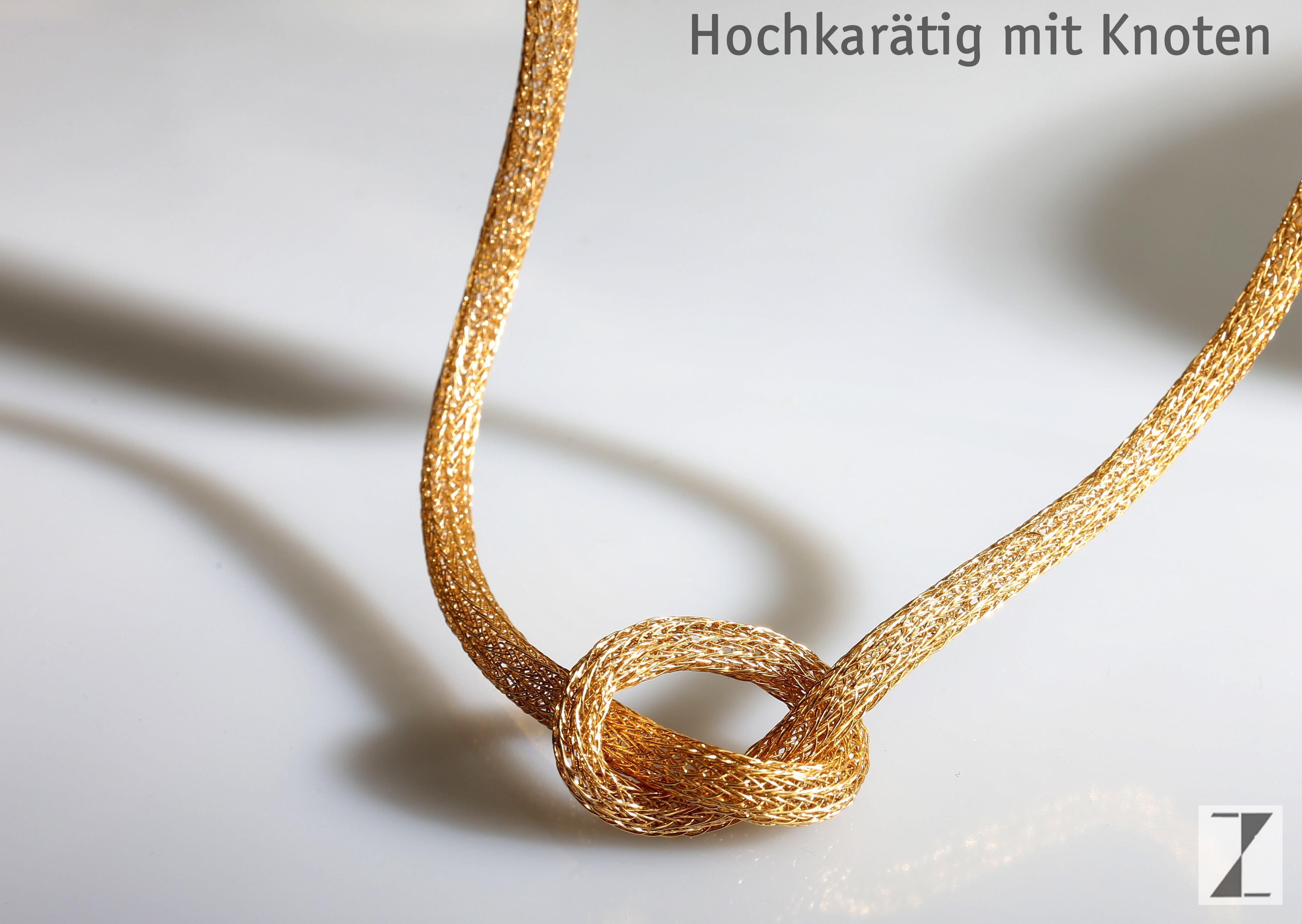Kette handgestrickt Gold mit Knoten - www.atelier-zellhuber.de  #Draht #Gelbgold #Gold