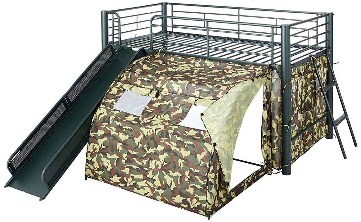 Camo loft bed with slide  Camo Tent Twin Loft Bunk Bed with Slide  Metal Loft Bed With Slide