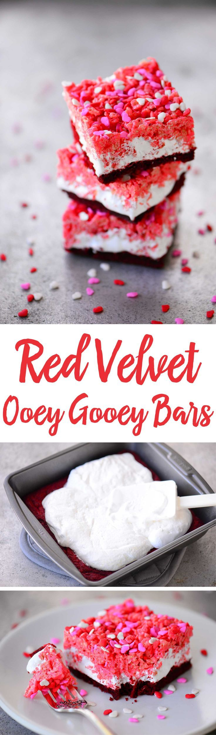 Red Velvet Ooey Gooey Bars have a red velvet cake crust with marshmallow cream and rice krispies treats on top. A Valentine's Day dessert loved by kids of all ages.