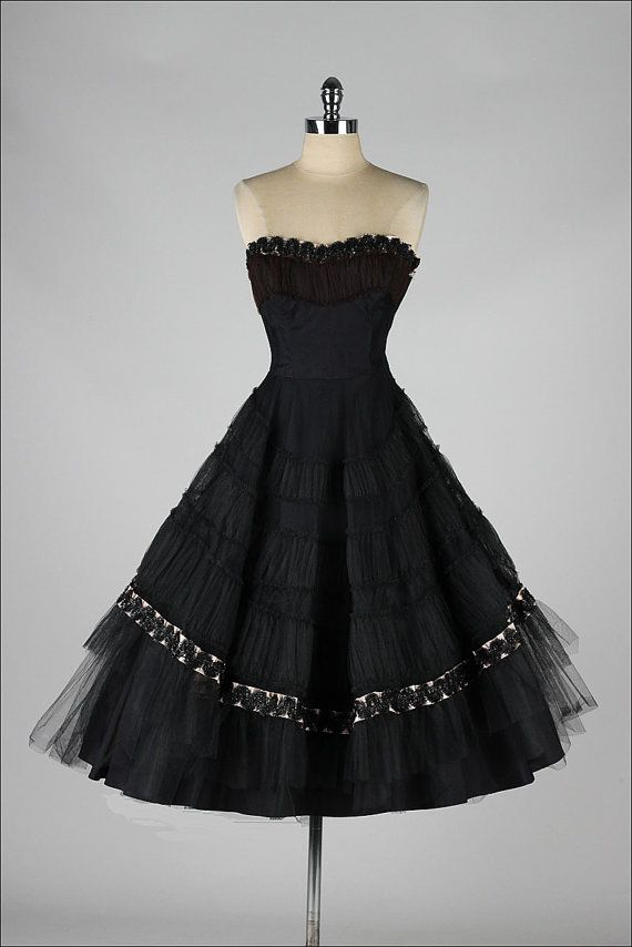 vintage 1950s dress . black tulle . strapless by millstreetvintage