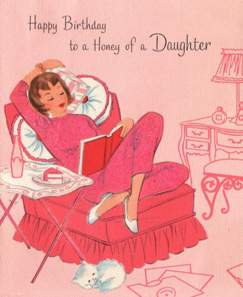 Daughter Birthday Vintage Retro Card