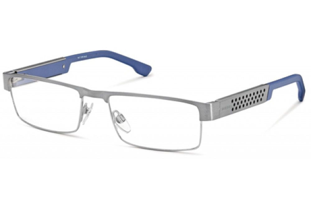 Diesel DL5020 008 Gunmetal Blue Mens Nerd Style Rectangle Eyeglasses ...