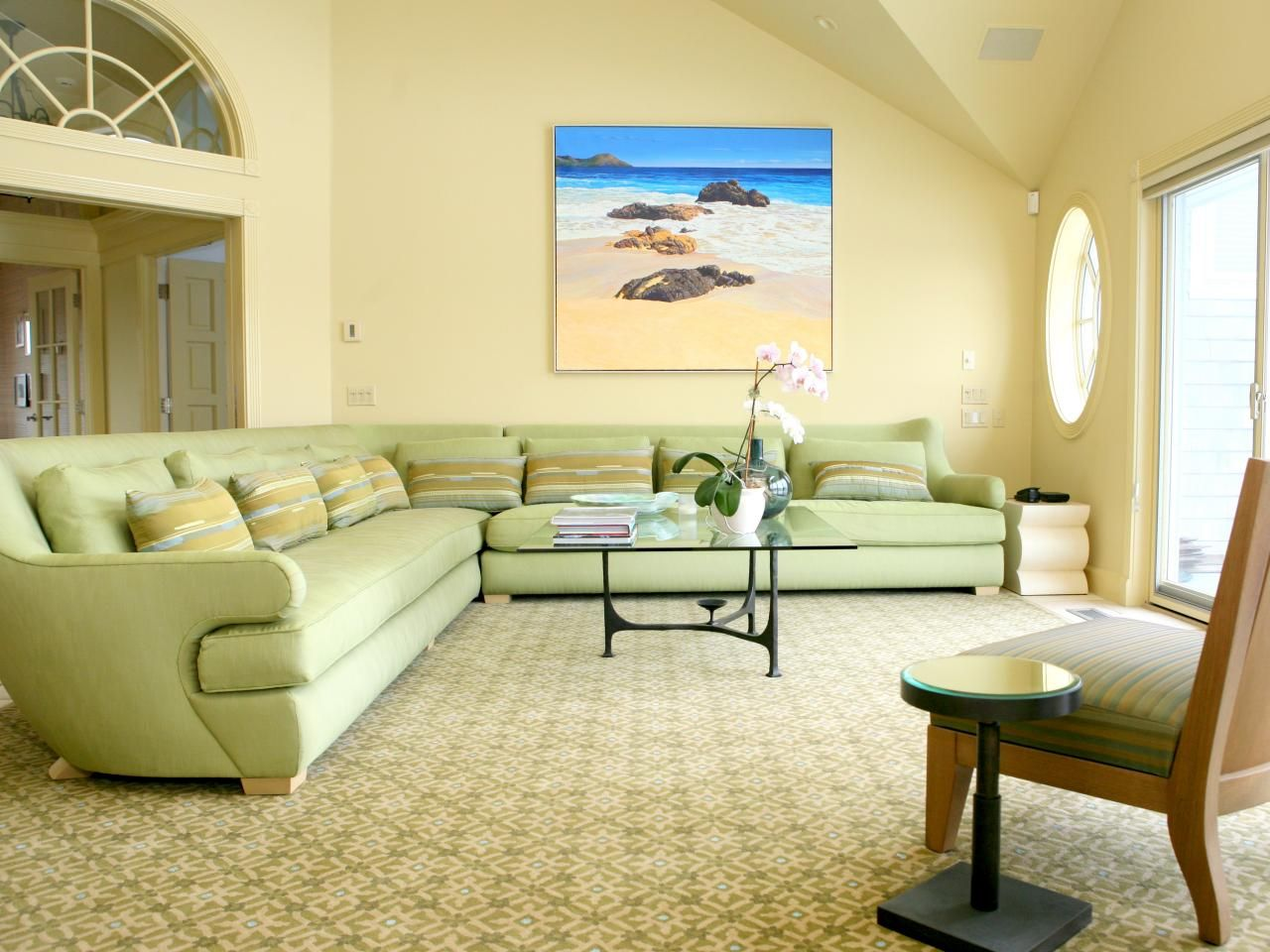 The High Ceilings And Yellow Walls Of This Coastal Living Room Create A  Open And Spacious Part 32